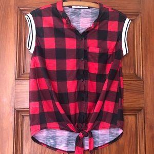 Buffalo Plaid Sleeveless Front Tie Top ~ Like New